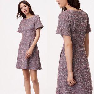 LOFT tweed shimmer fit flare dress